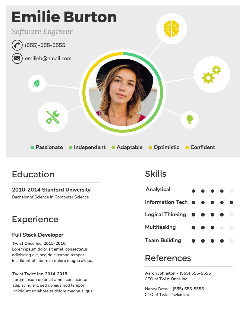 Charmant Infographic Resume Template