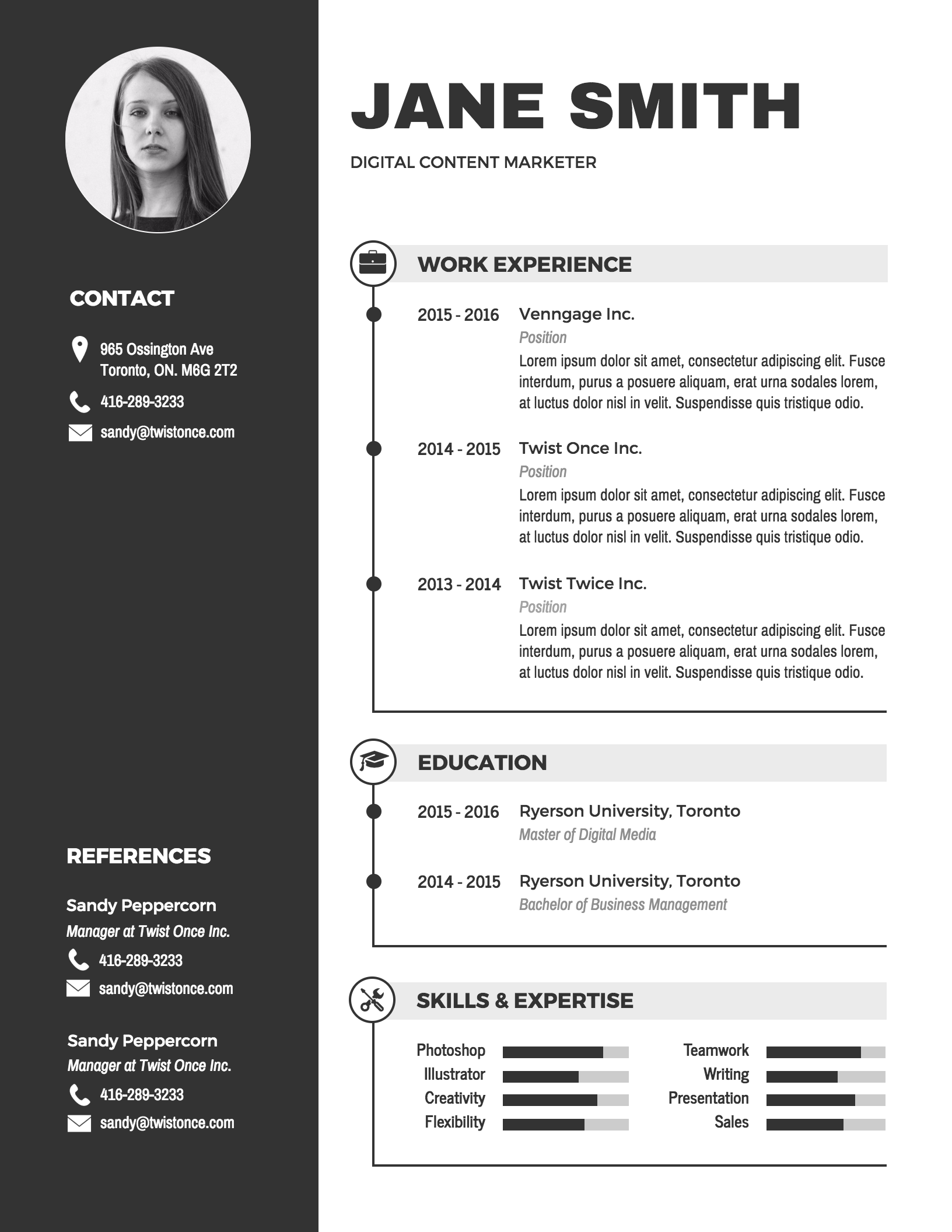 Infographic Resume Template  Traditional Resume Template