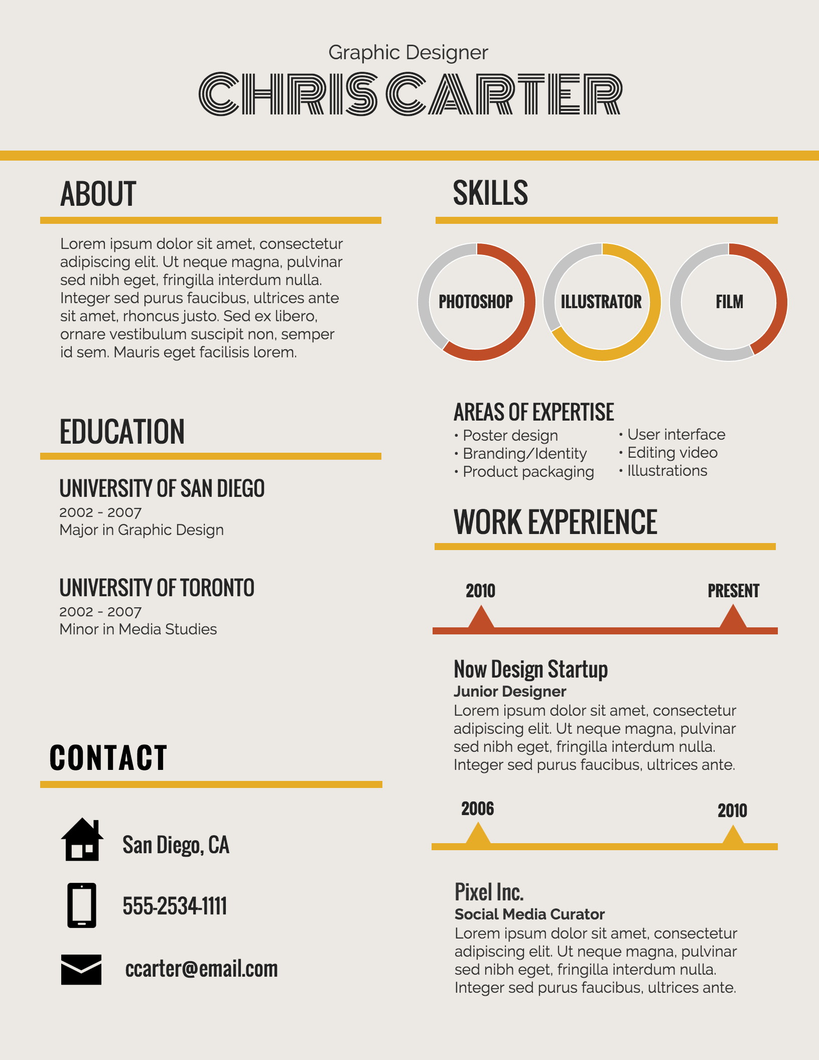 Infographic Resume Template  Fonts To Use On A Resume