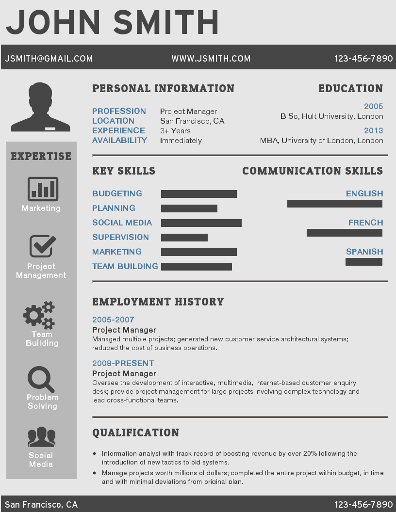 infographic resume template for the experienced professional - Resume Infographic