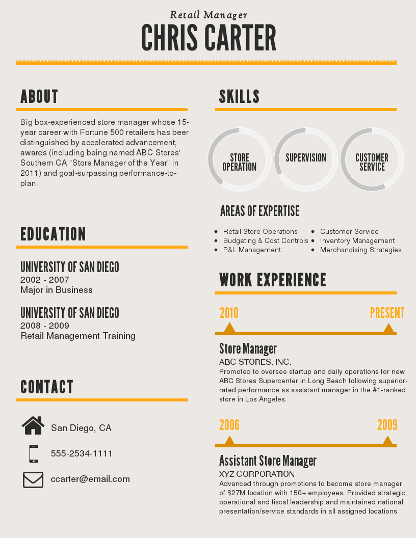 gold infographic resume template