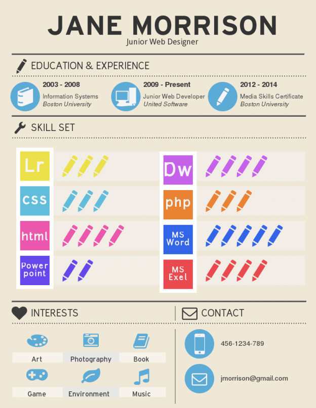 Infographic Resume Template highlighting Skillset