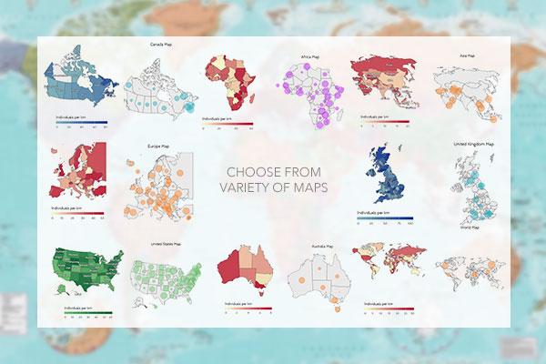 Introducing Premium Maps Venngage - Map asia us uk australia