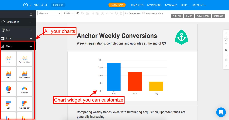 Venngage Editor Chart Selection Tab Screenshot