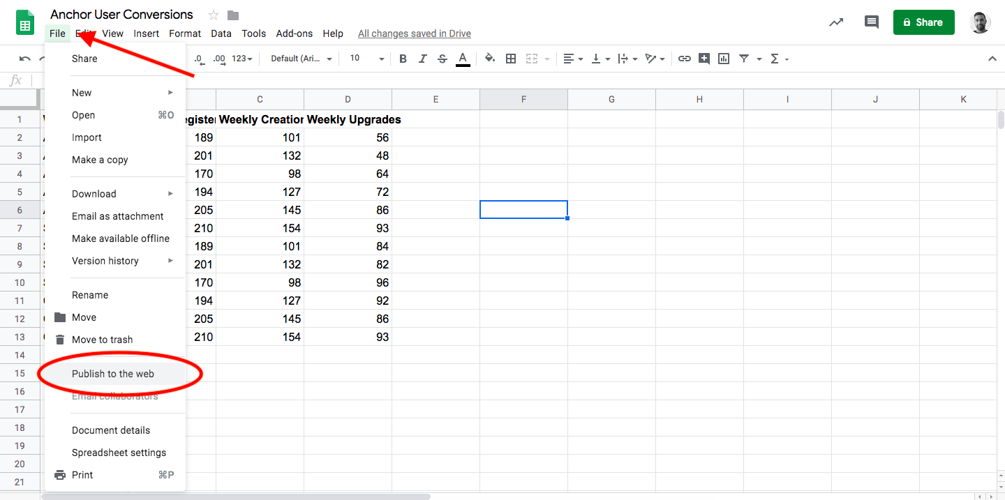 How to Publish to Web with Google Spreadsheet