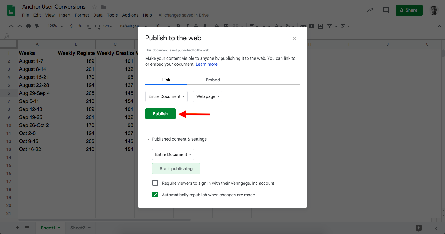 Google Spreadsheets, Click Publish Button Example