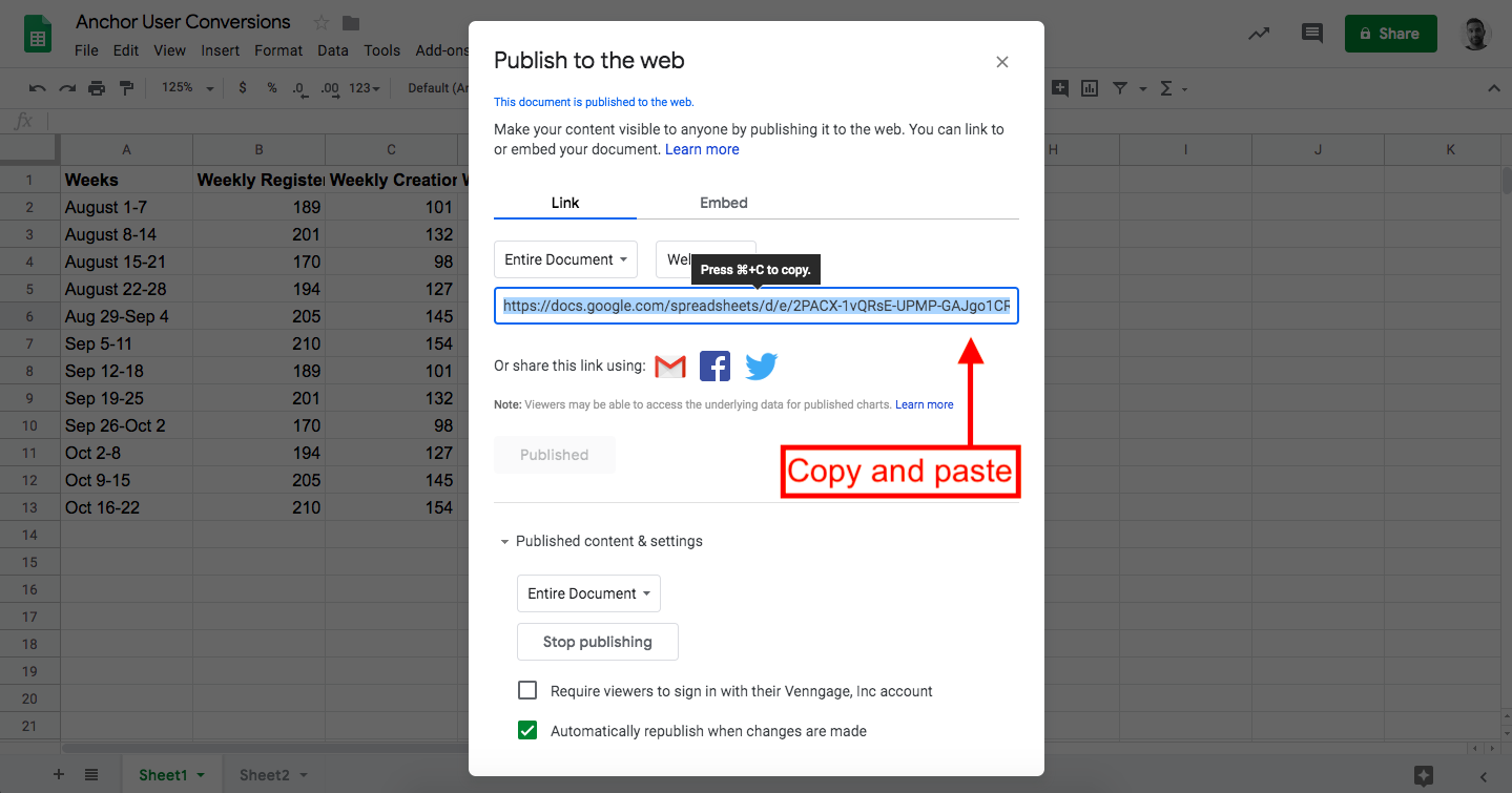 Google Sheets Publish to Web Copy and Paste Link Example