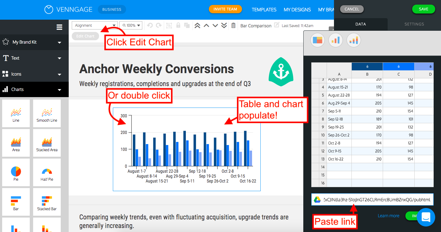 Venngage Bar Charts Widget Customization. Upload Spreadsheet and Populate Chart Example