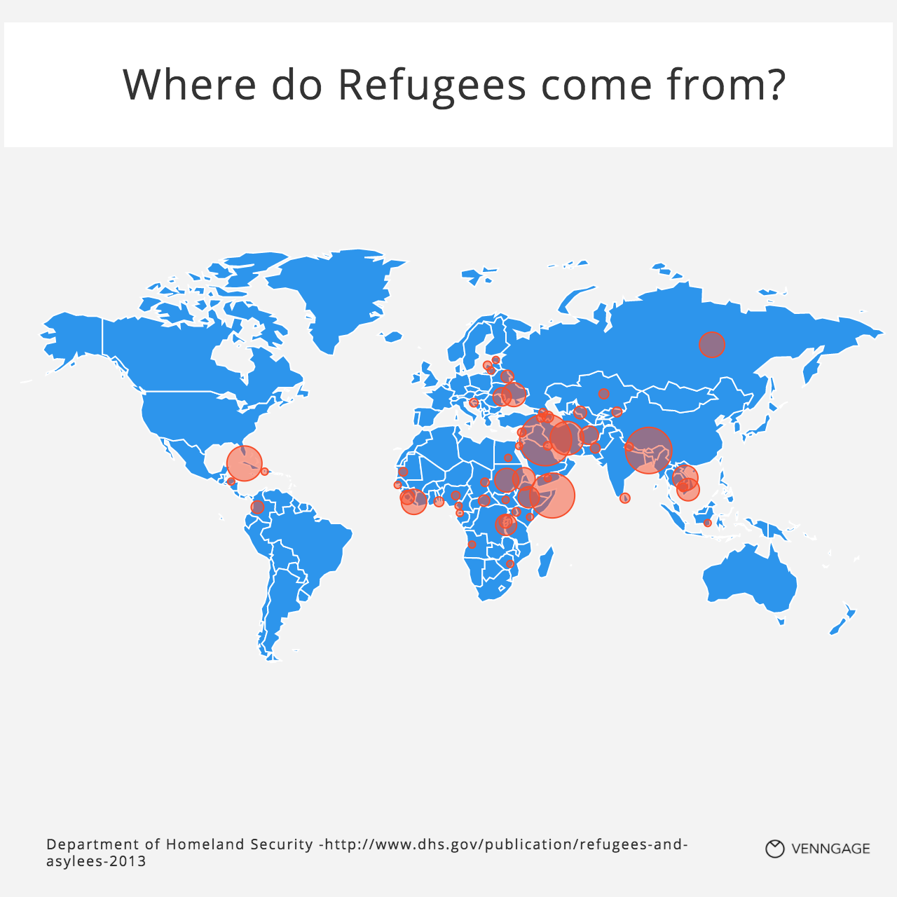 Questions About Refugees Answered With Charts Venngage - Usa map country of origin