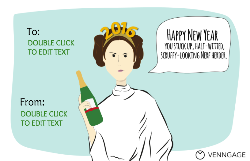 Leia New Year Infographic Template Star Wars