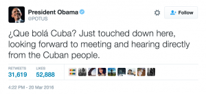 Barack Obama Tweet Cuba Trip