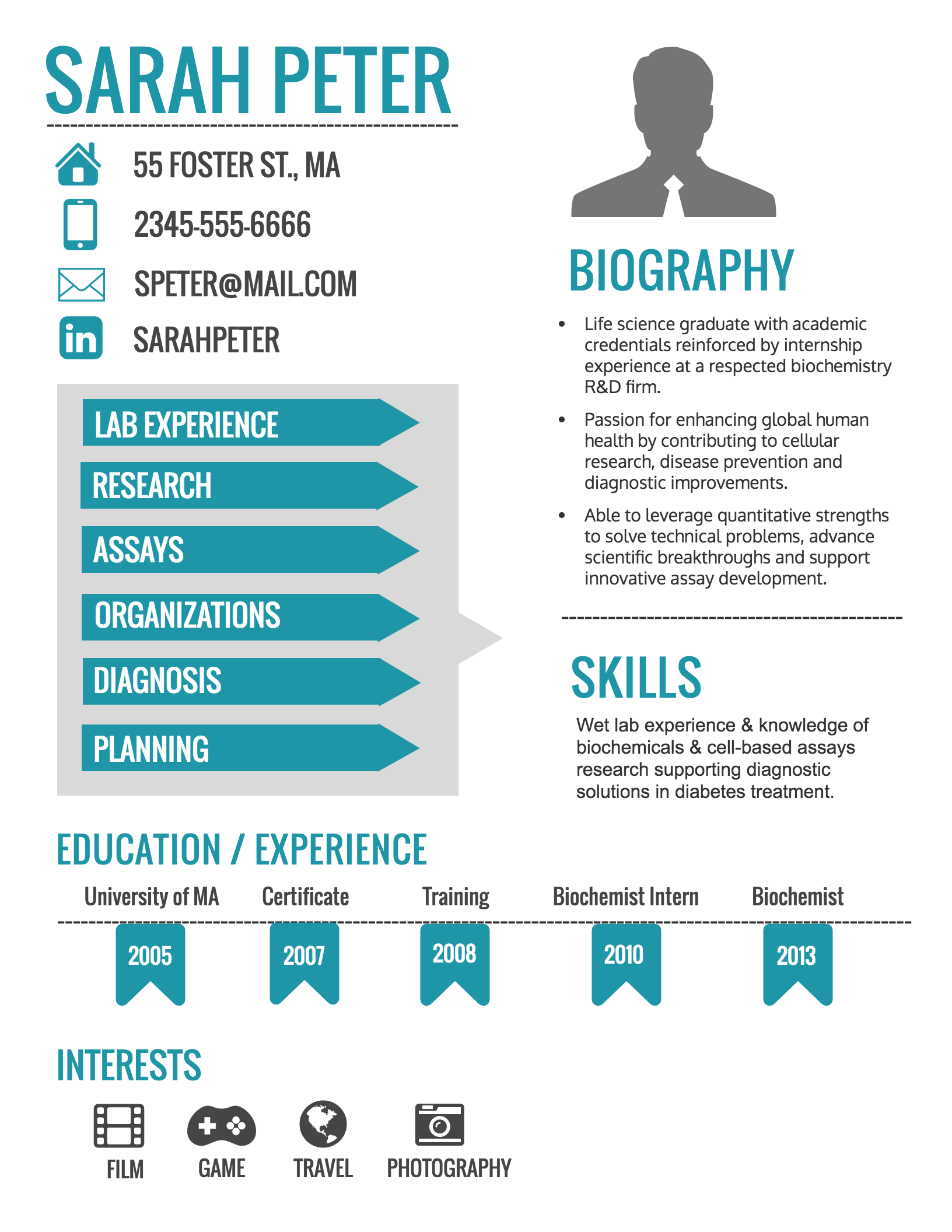 Perfect Sarah Peter  Infographic Resume Creator