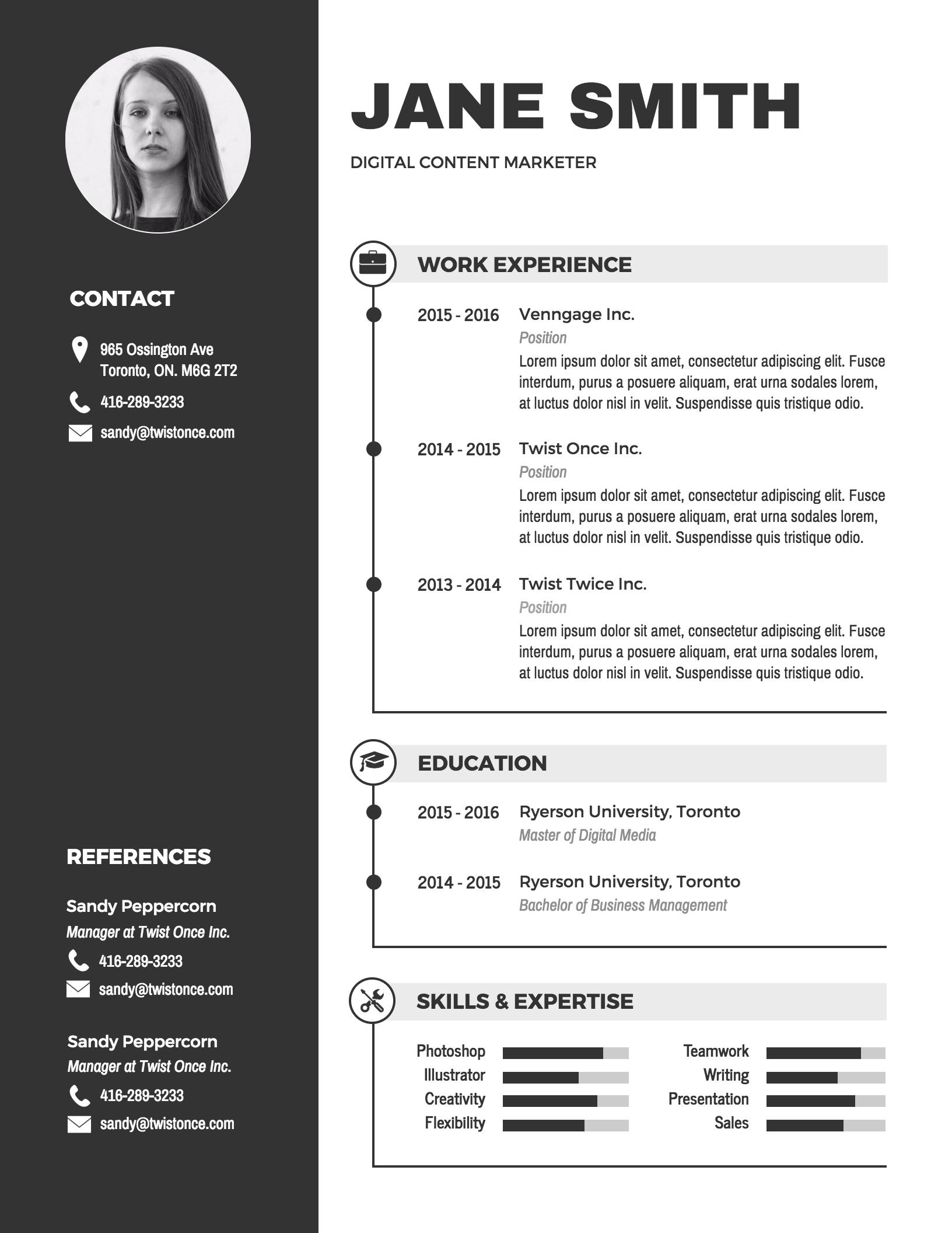 Plantillas para Curriculum Infografía - Venngage