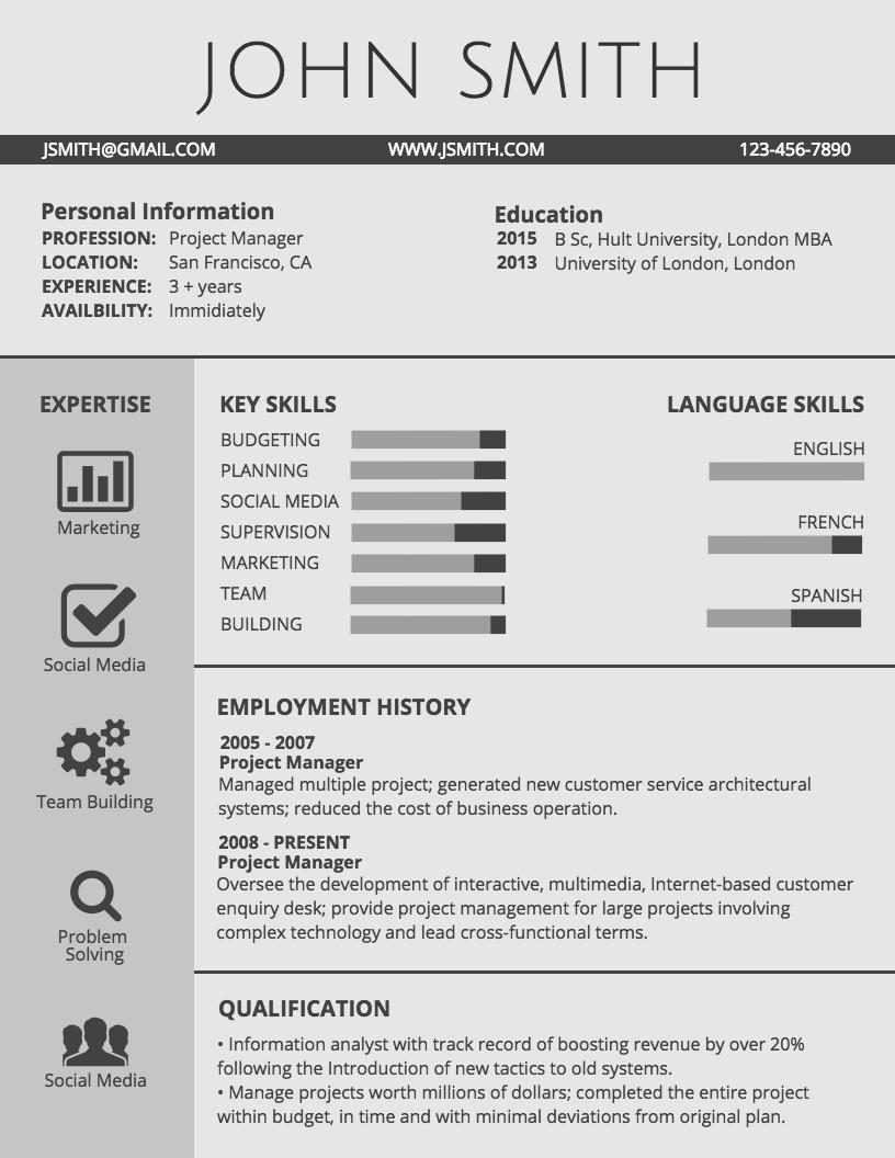 plantillas para curriculum infograf u00eda