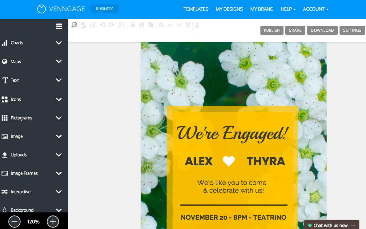diseña tu propia invitación en línea con venngage