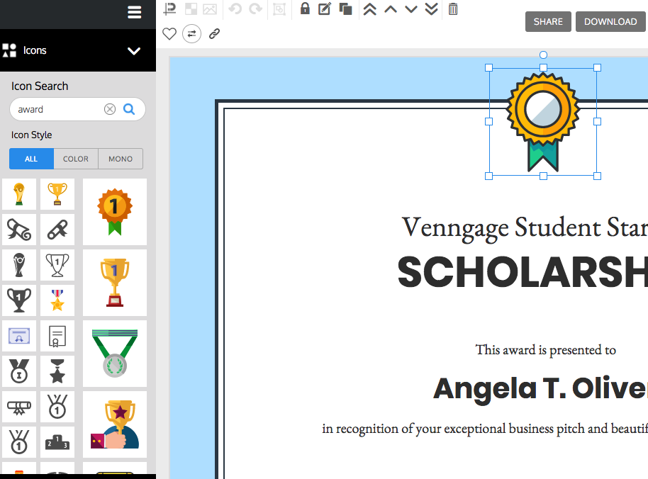 venngage the online certificate maker
