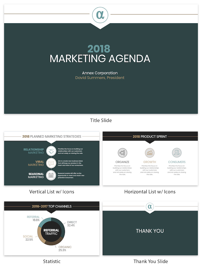 Professional Green Marketing Agenda Presentation Template