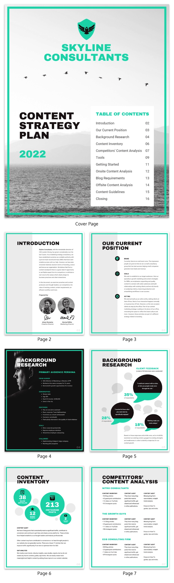 Teal Content Marketing Strategy Plan Template