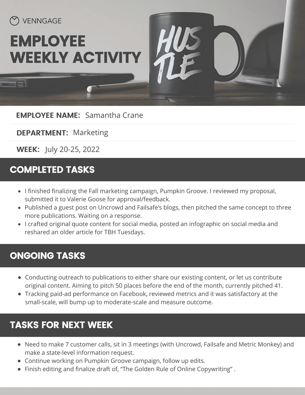 Simple Employee Weekly Report Template - Venngage