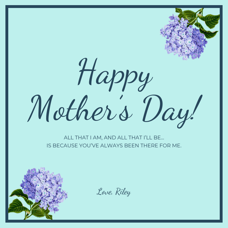 Light Blue Happy Mother's Day Card