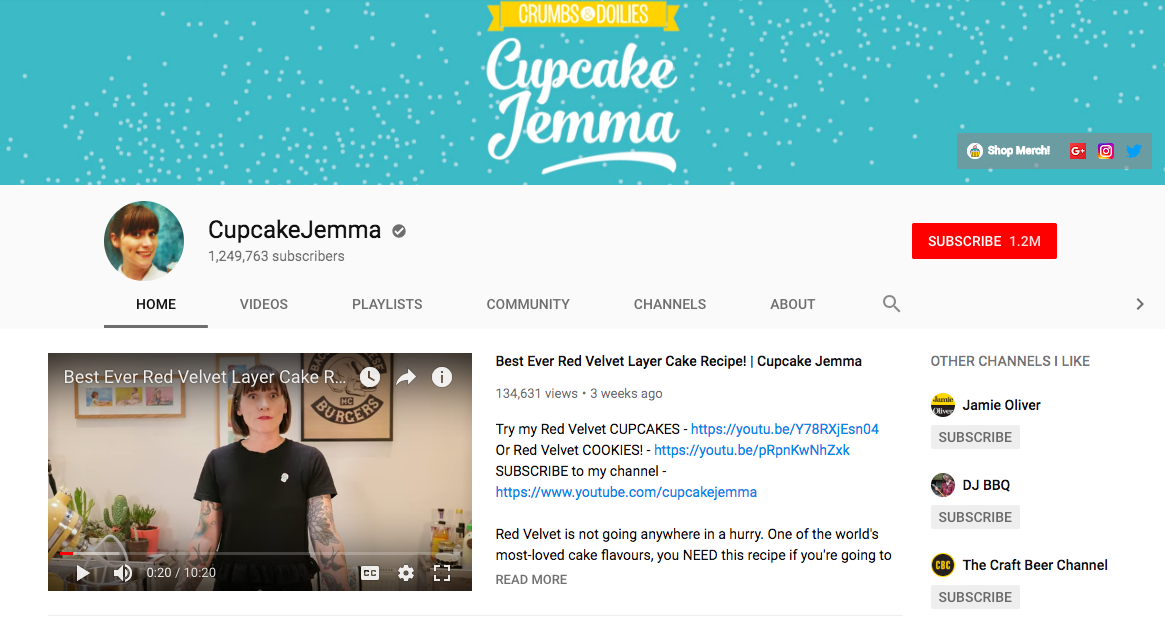cupcakejemma youtube banner