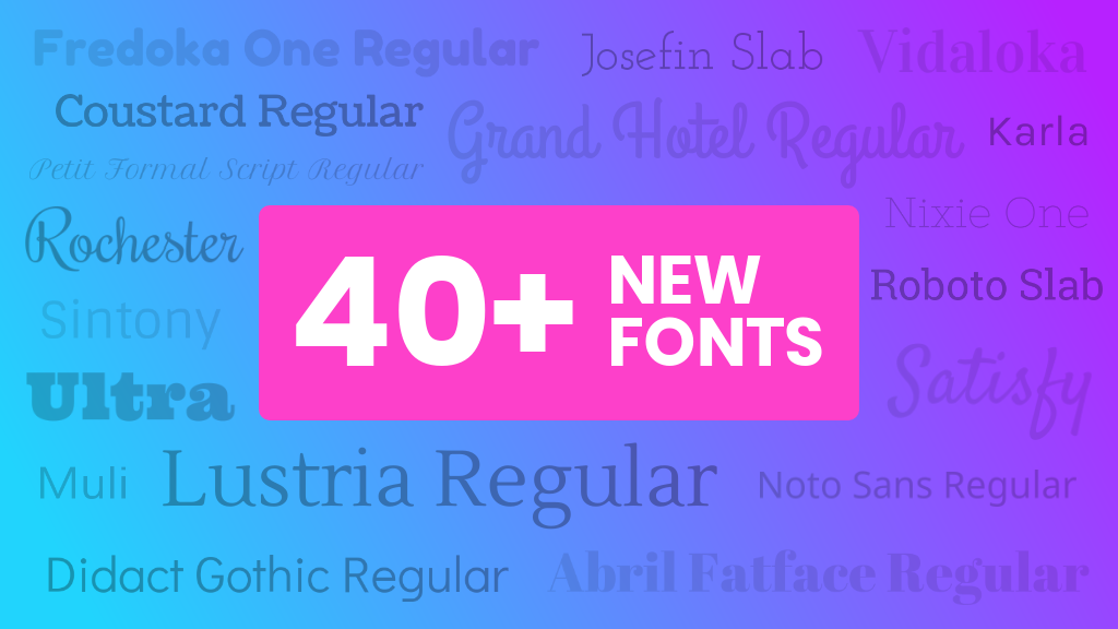 We've Added 40+ New Fonts Including Arabic, Chinese and Thai