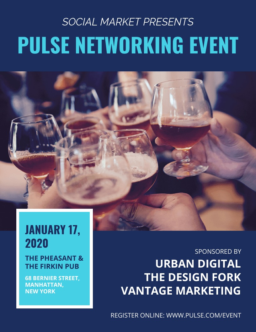 Blue Business Networking Event Flyer Example