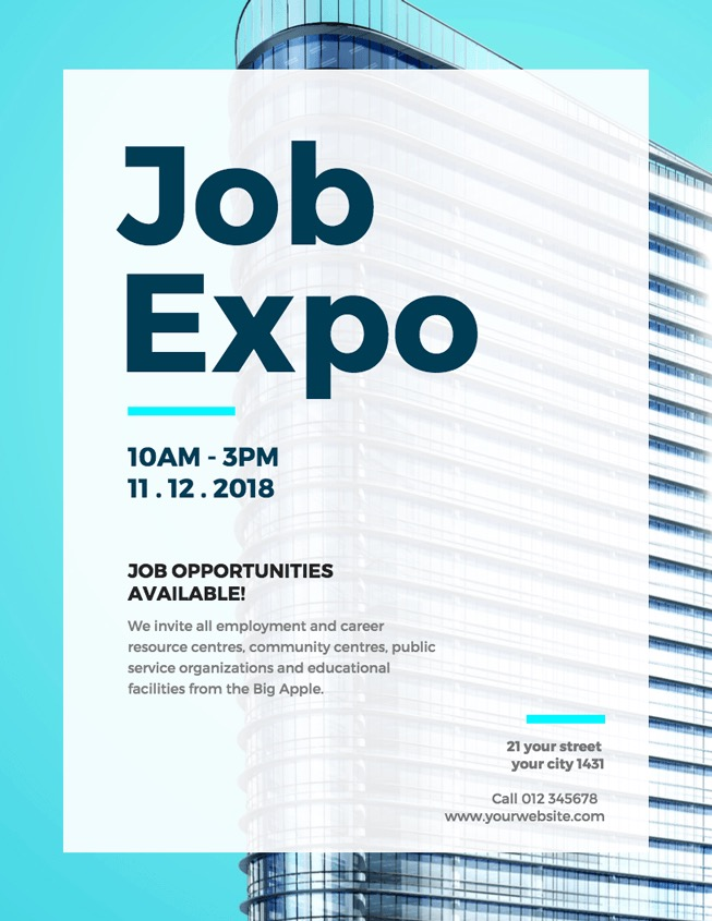 Blue Job Expo Event Poster Design
