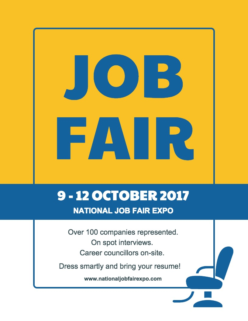 Blue & Yellow Job Fair Poster Design copy