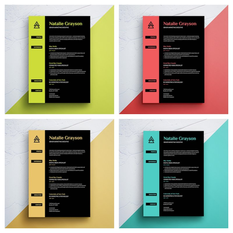 Bright Colorful Resume Template