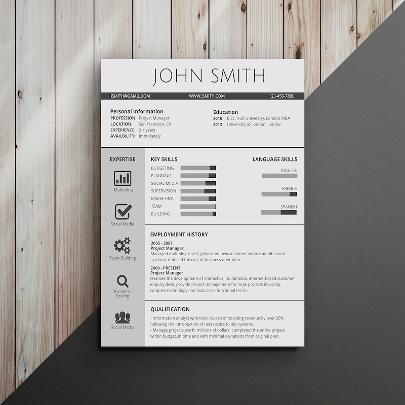 Classic Professional Infographic Resume Template