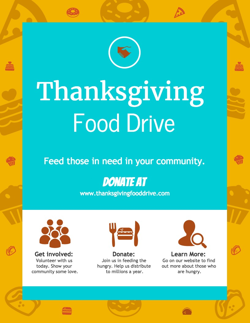Colorful Food Drive Event Poster Design