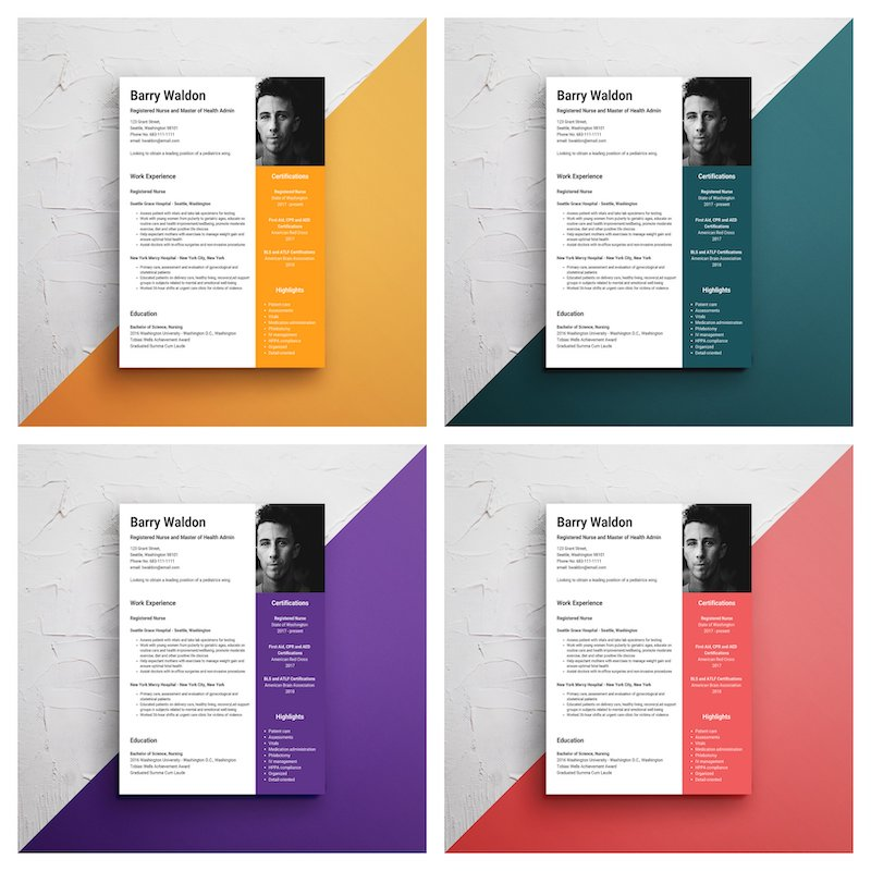 Creative Nursing Infographic Resume Template