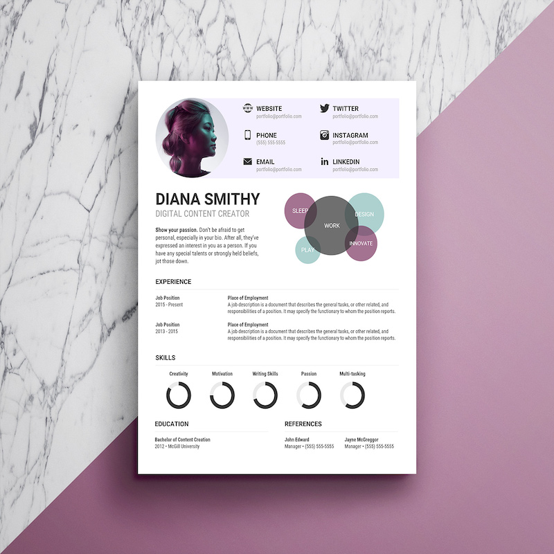 Modern Creative Infographic Purple Resume1