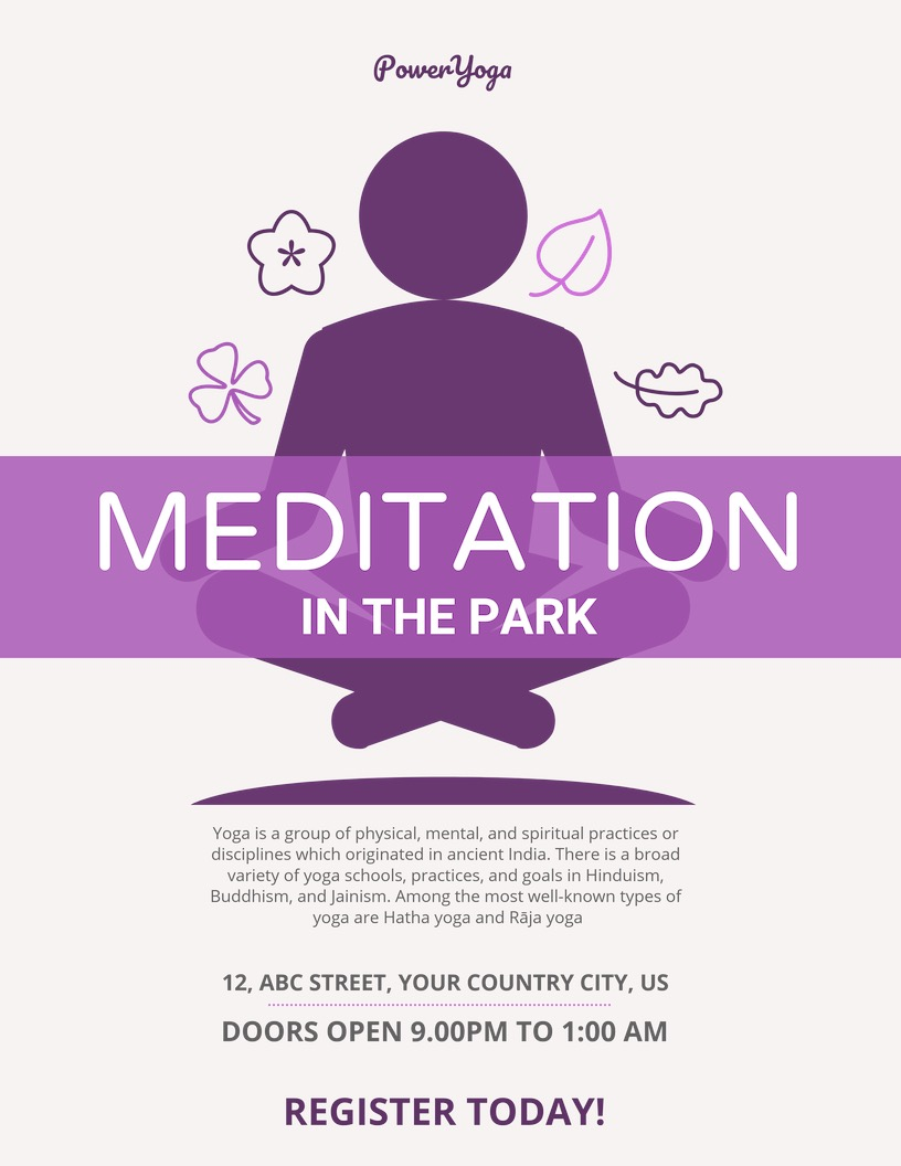 Purple Meditation Event Poster Design
