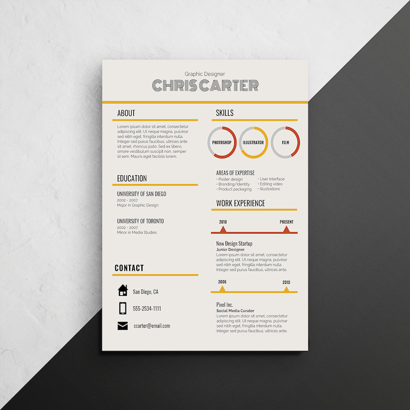 Retro Infographic Resume Template