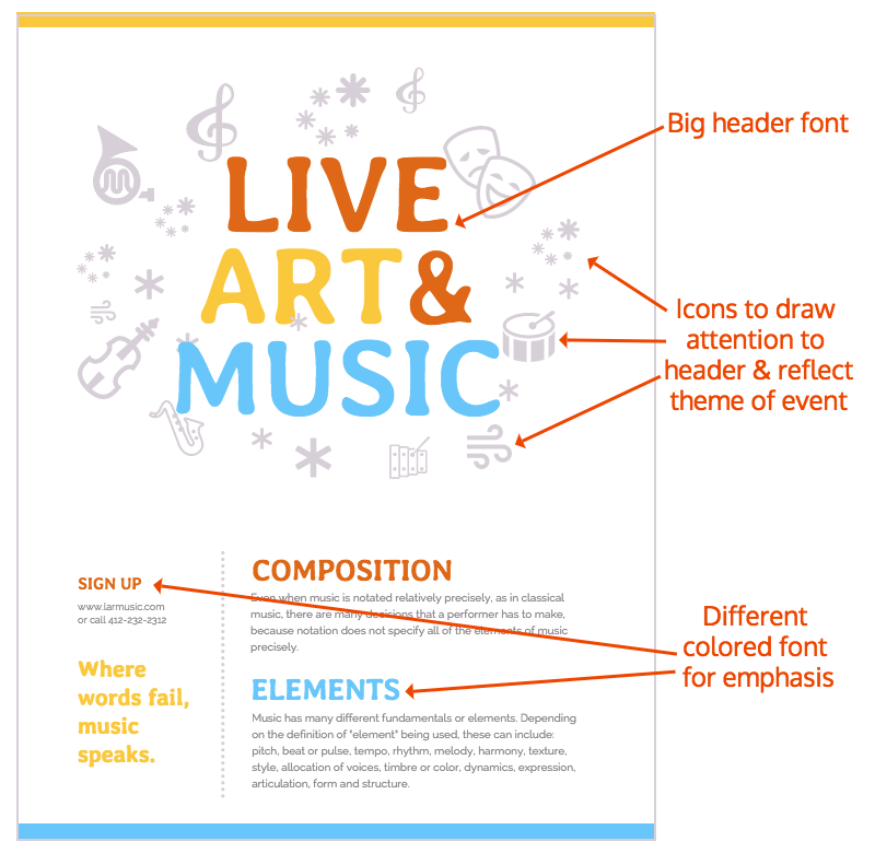 Simple Arts & Music Event Poster Design