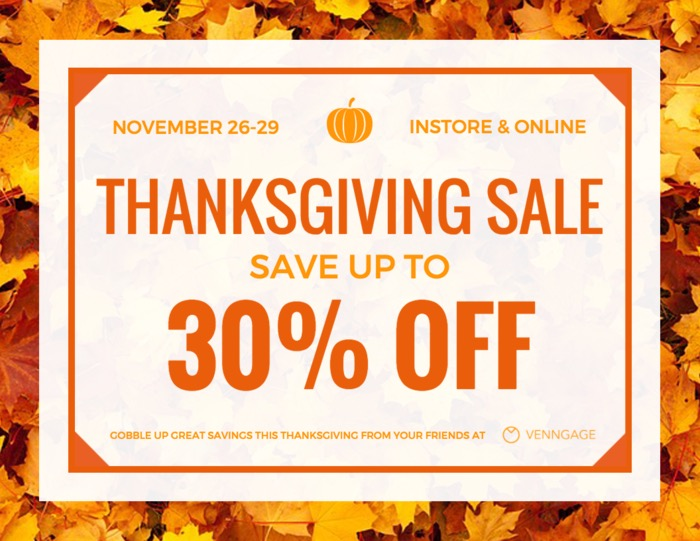Simple Thanksgiving Sales Flyer Example