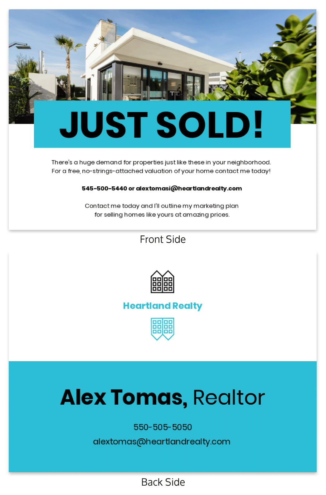aqua real estate flyer template