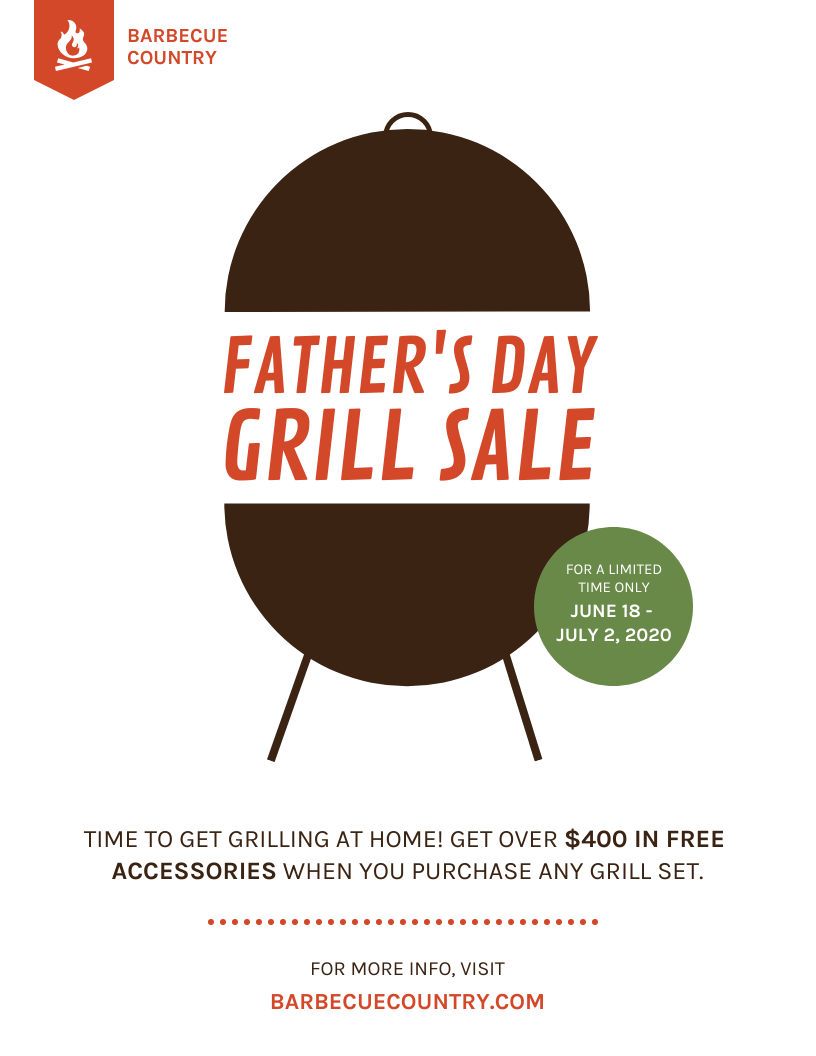 bbq fathers day sale flyer template