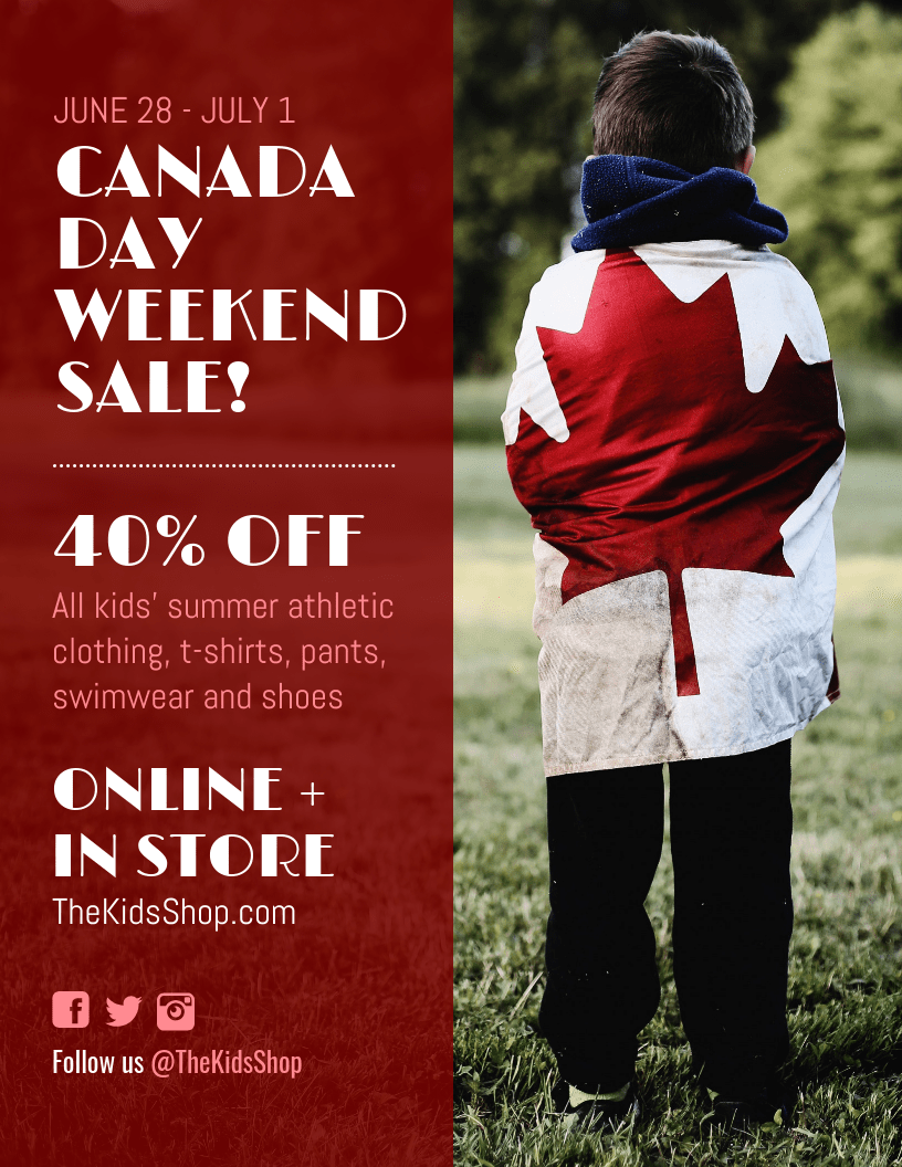 canada day sale flyer template