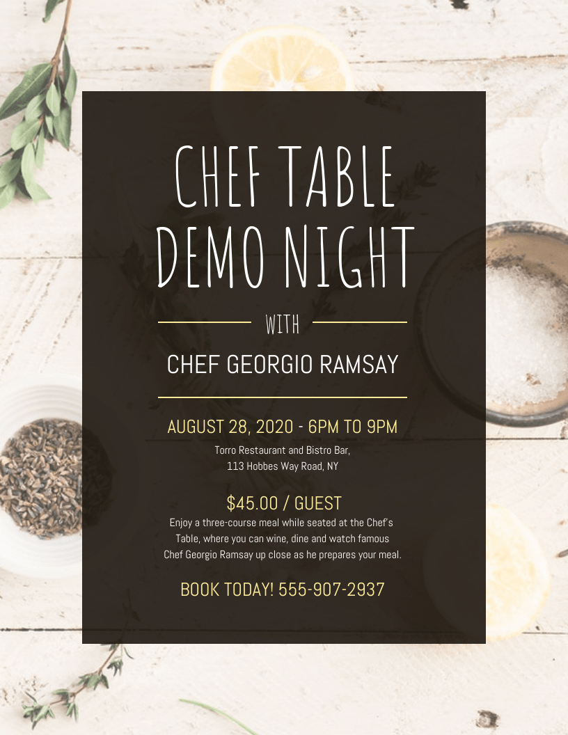 chef demo event flyer template