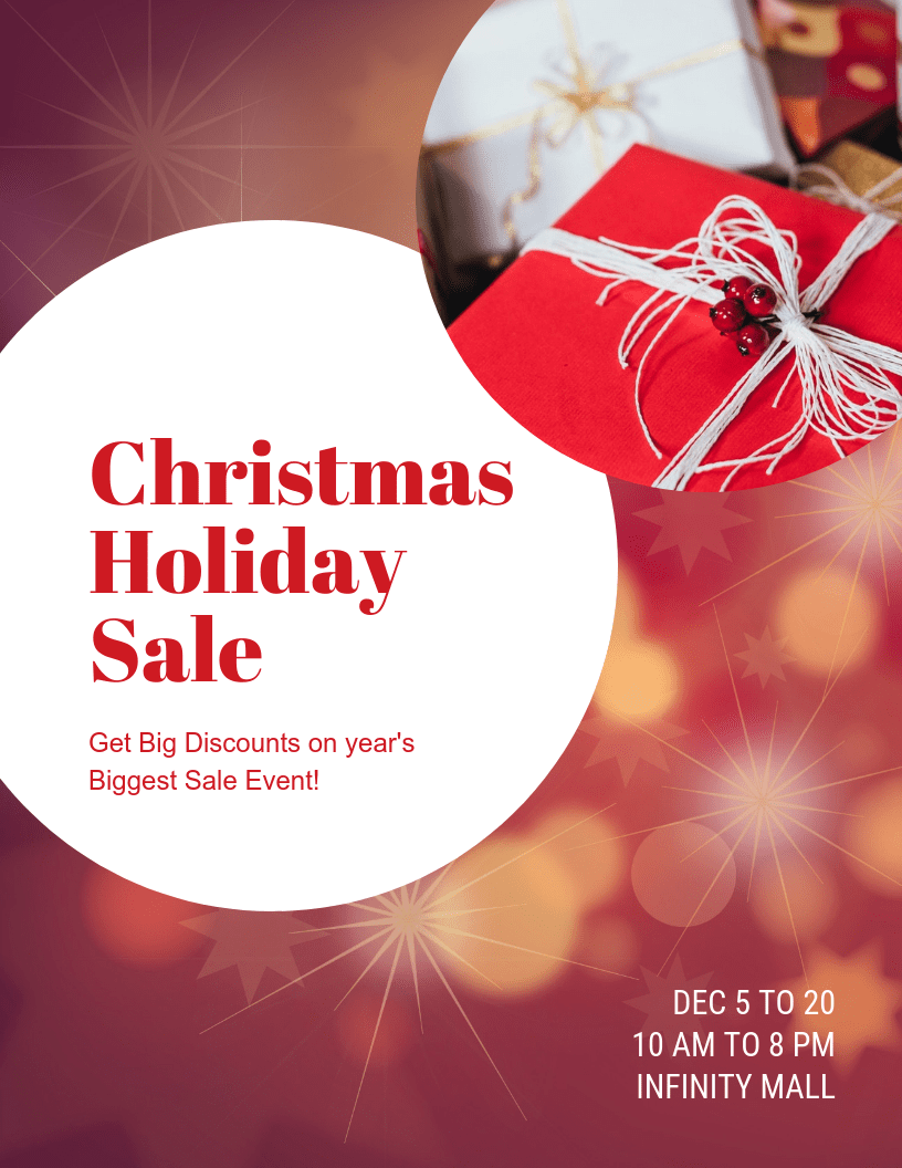 christmas holiday sale flyer template