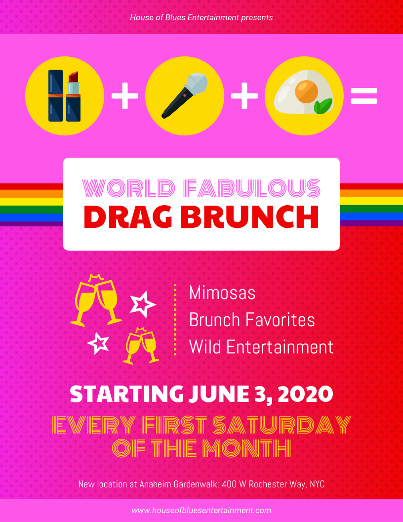 drag brunch event flyer template