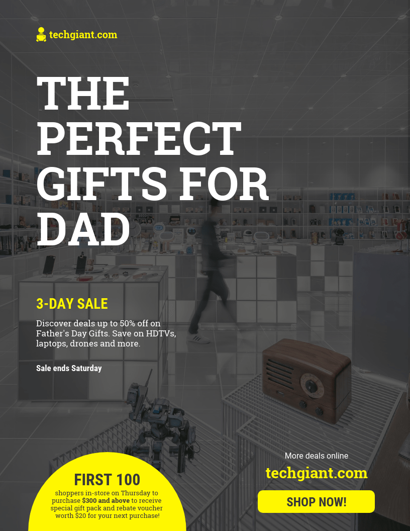 gadget fathers day sale flyer template