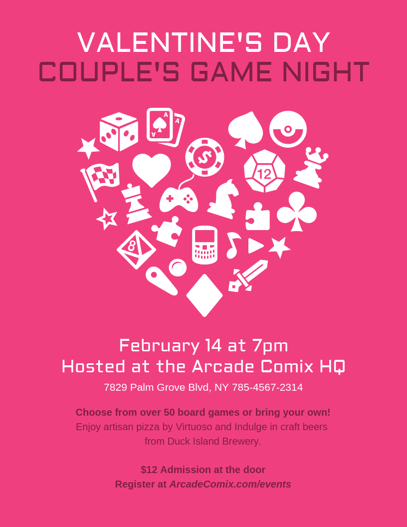games night valentines day flyer template