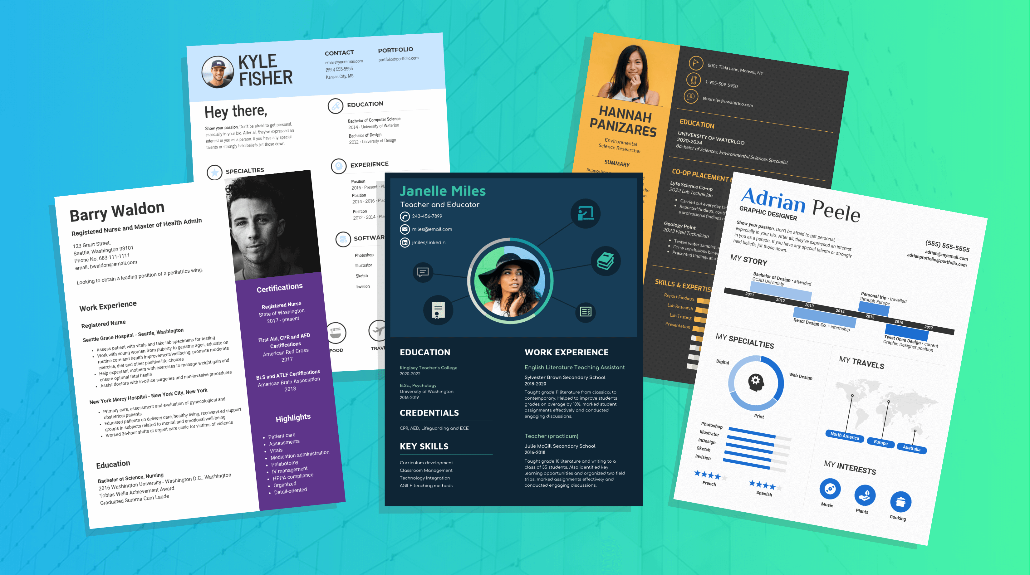 Selection of infographic resume templates