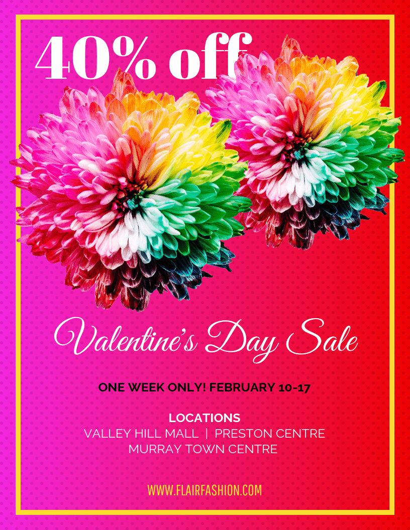 neon valentines day sale flyer template