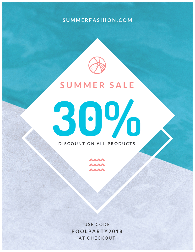 pool summer sale flyer template