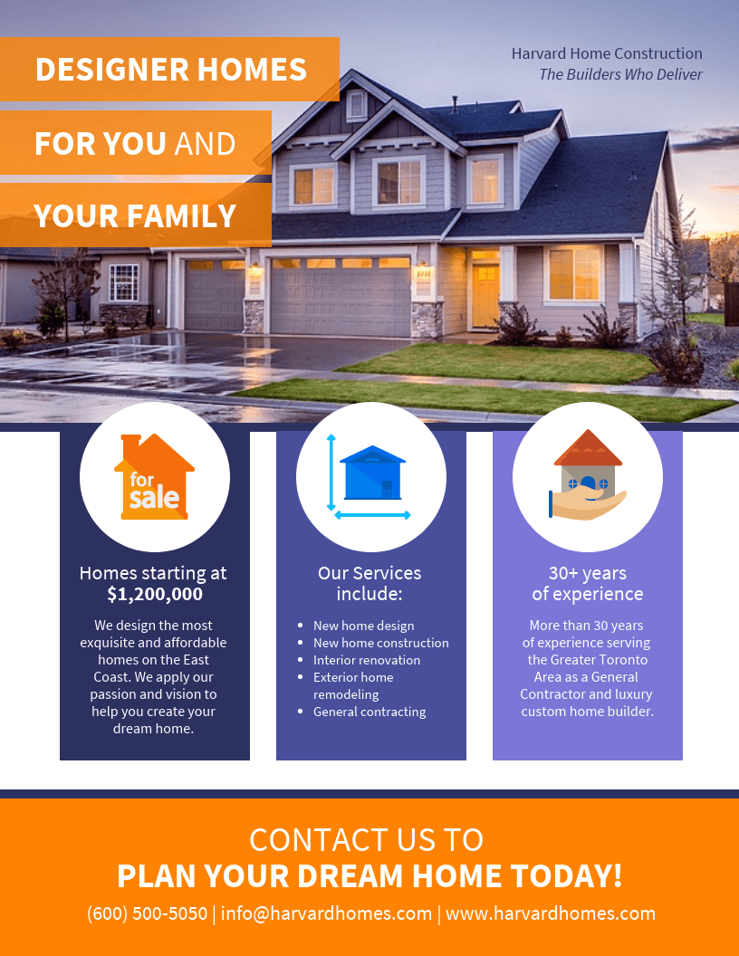 real estate icon flyer template